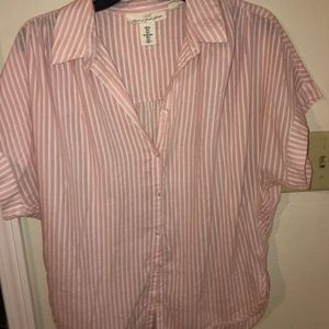 H&M pink short sleeved button up top